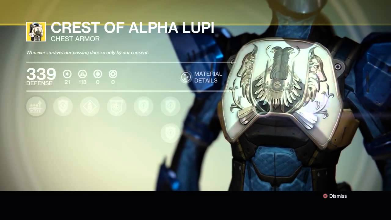 Destiny crest of alpha lupi exotic titan chest armour piece