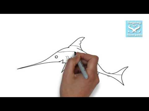 Menggambar Binatang (IKAN CUCUT) || Draw Animals (Swordfish ) Mp3