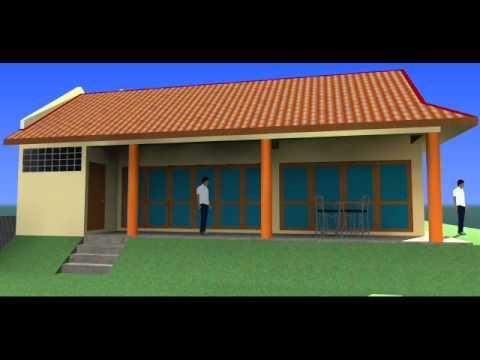 visual 3d rekabentuk ubahsuai rumah berkembar 1 tingkat