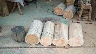 原木凳製作(桃花心木_印度紫檀)