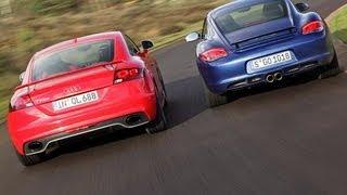 Audi TT RS gegen Porsche Cayman S - Audi jagt Porsches Krokodil
