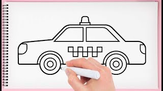 How to Draw a Taxi Step by Step Learn Easy and Simple Drawing Taxi for Kids