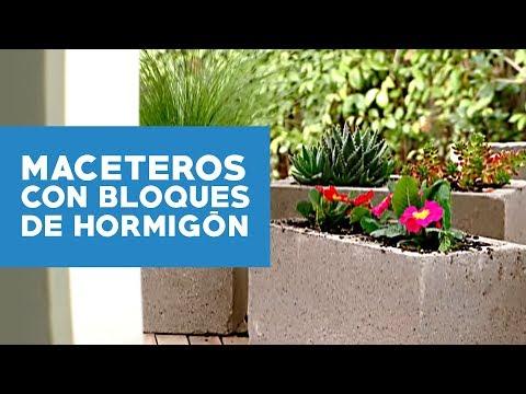 C mo hacer maceteros con bloques de hormig n youtube for Arboles con flores para jardin
