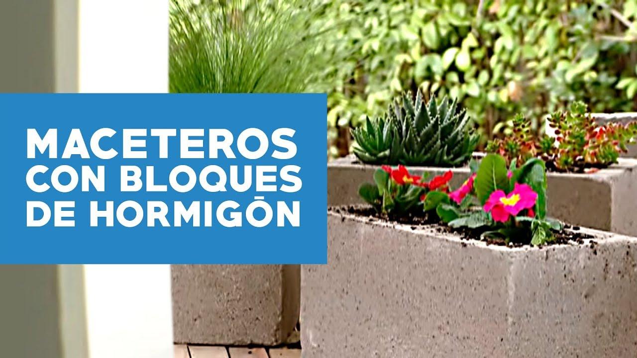 C mo hacer maceteros con bloques de hormig n youtube for Ideas decorativas para patios