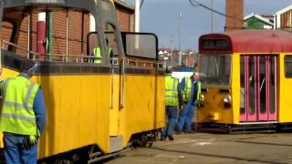 Blackpool Rigby Road Tram Depot. *Rare* Shunt. 20/03/12.
