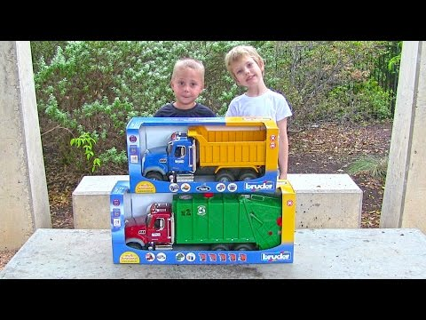 Toy Truck Videos for Children - Toy Bruder Mack Garbage Truck and Dump Truck for Kids