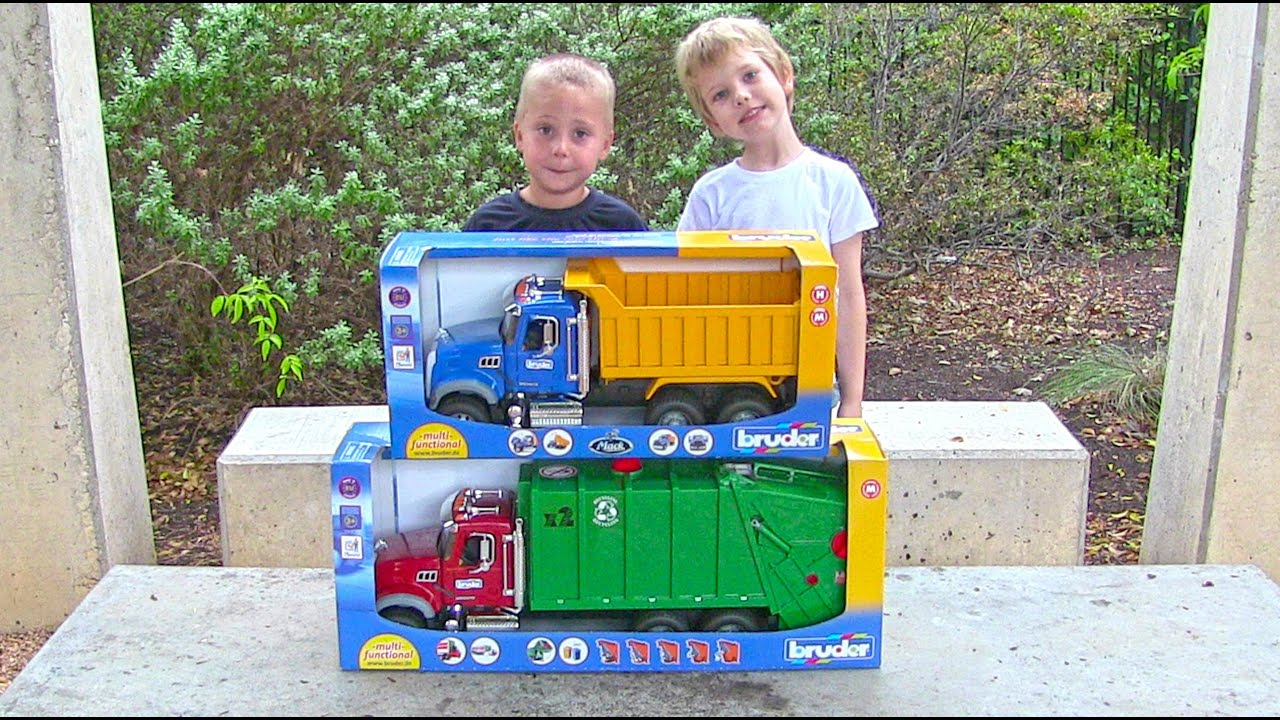 toy truck videos for children toy bruder mack garbage truck and