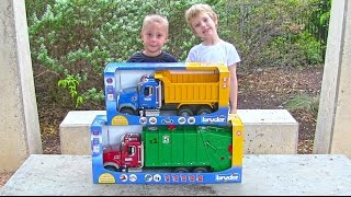 Toy Truck Videos for Children - Toy Bruder Mack Garbage Truck and Dump Truck for Kids