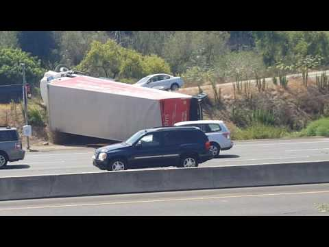 Truck roll over in oceanside ca, hwy 78 and el camino real ...