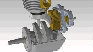 motor cycle 3d model running engine animation