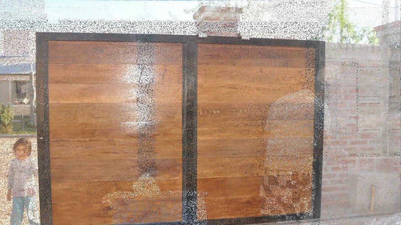 Pared porton y rejas youtube for Puertas de frente de madera