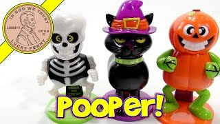 Pooping Halloween Candy Dispensers, Pumpkin, Skeleton & Kitty Witch