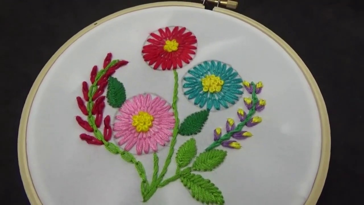Hand Embroidery | Long Tail Lazy Daisy Stitch Flower Embroidery Tutorial For Beginners |