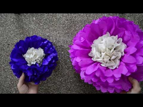 How to make Large Tissue Paper Flower for Birthday Party Decoration