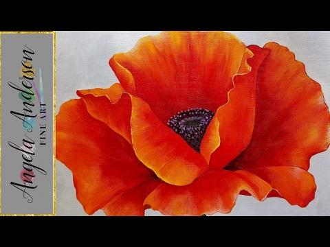 RED POPPY Acrylic Painting Georgia O'Keeffe Inspired Tutorial LIVE Beginner Blending Lesson thumbnail