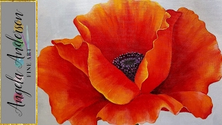 RED POPPY Acrylic Painting Georgia O'Keeffe Inspired Tutorial LIVE Beginner Blending Lesson