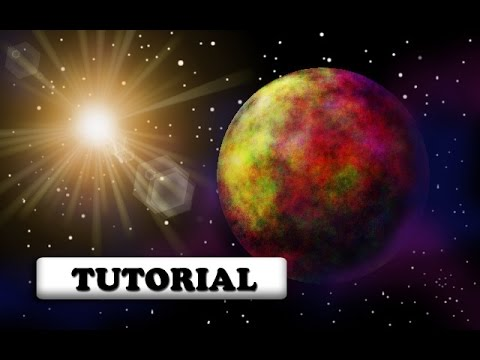 How to create an awesome sci-fi planet scene digital art with a sun in Gimp ~Gimp 2.8 basic tutorial