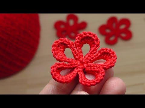 Маленький ЦВЕТОК крючком вязания для начинающих Lesson crochet flowers
