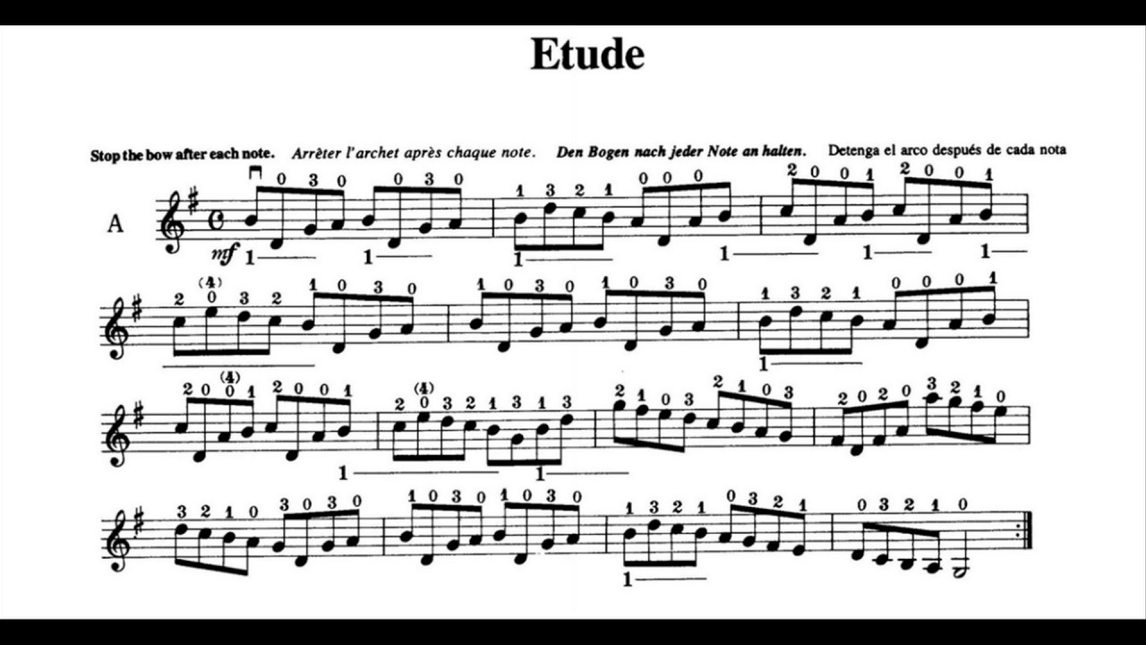 Etude Suzuki Violin Notes