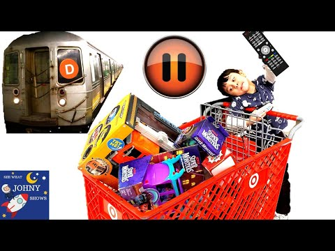 Pause Challenge on MTA SUBWAY TRAIN & Target With Johny