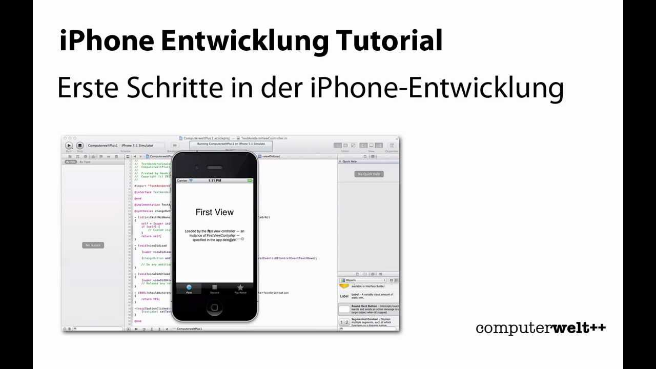 iphone entwicklung tutorial in f nf minuten erste eigene app entwickeln youtube. Black Bedroom Furniture Sets. Home Design Ideas