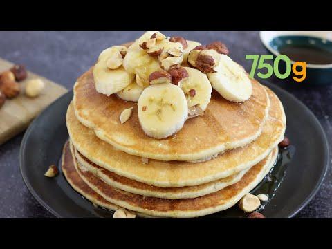recette-de-pancakes-au-sirop-d'érable,-bananes-et-noisettes---750g