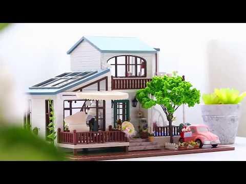 DIY Doll House Wooden Miniature dollhouse Furniture Kit Toys for children Gift house