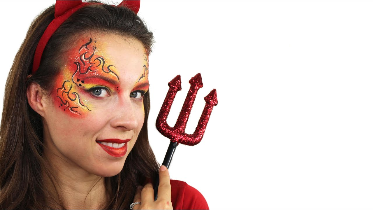 Devil Makeup - Easy Halloween Face Paint Tutorial - YouTube