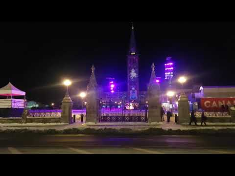 Ottawa beautiful light theater in the evening at parliament!