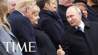 Putin Gives President Trump A Thumbs Up At The WWI Commemoration Event I Commemoration Speech | TIME