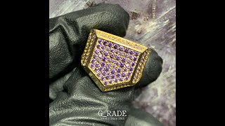 G_RADE Jewelry 지레이드 쥬얼리 [Purple Gem Pentagon Logo Gold Ring]