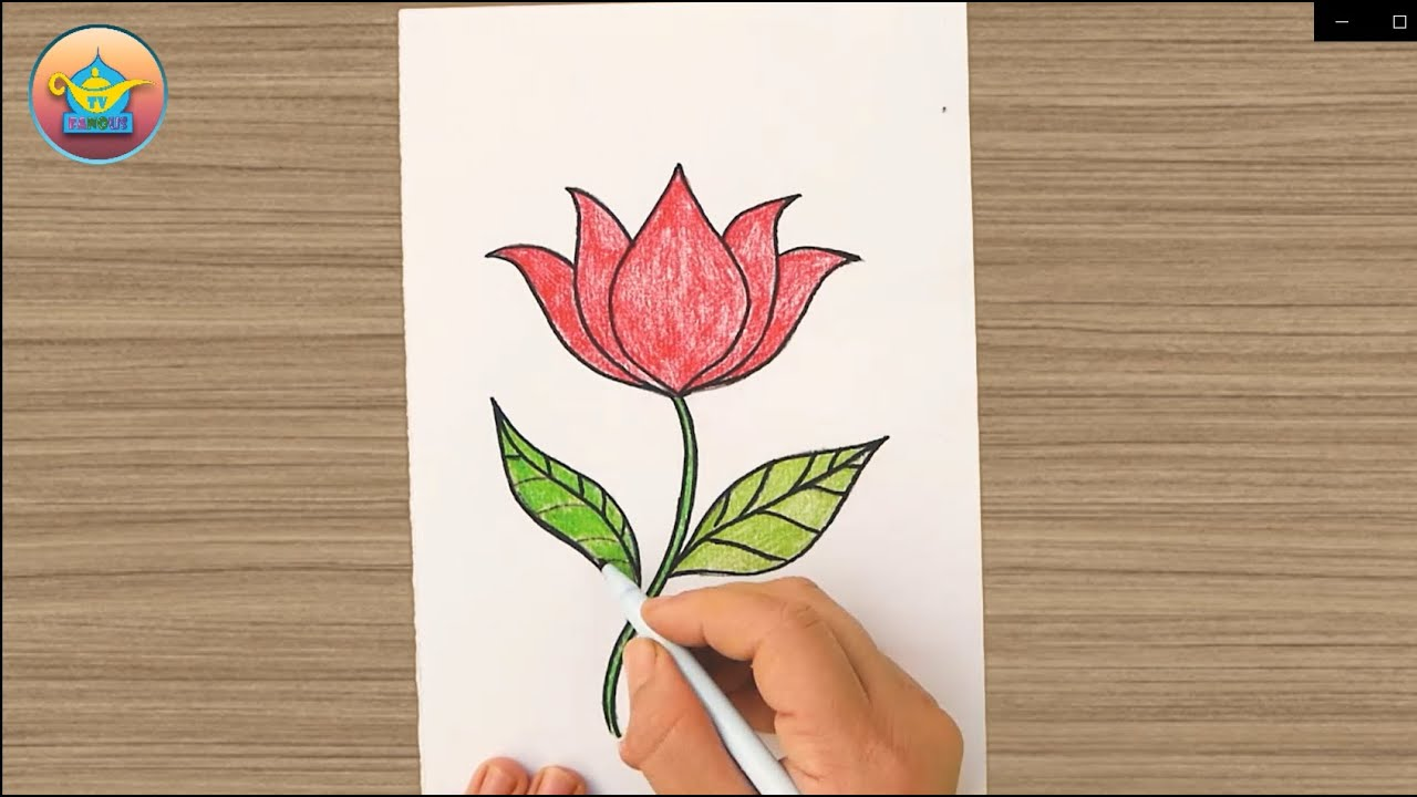 How to draw a rose easy | رسم وردة بطريقة سهلة - YouTube