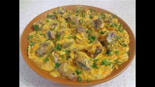 Куриные желудки в сметанно-сырном соусе