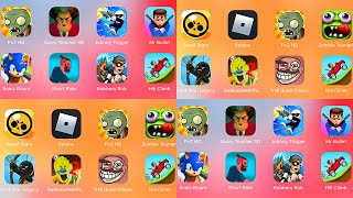 Brawl Stars,Plants vs Zombies,Roblox,Scary Teacher 3D,Johnny Trigger,Mr Bullet,Zombie Tsunami