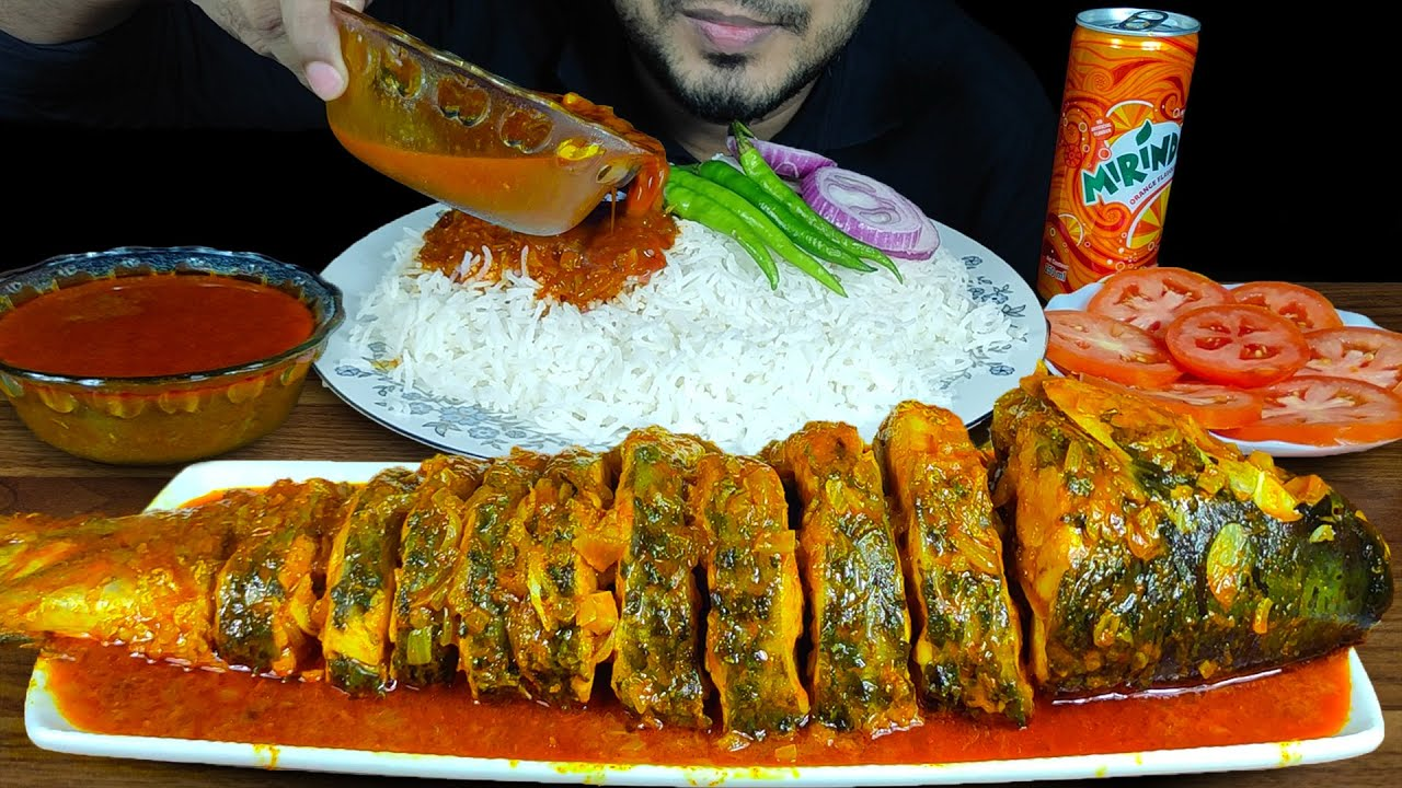 EATING SPICY FULL ROHU FISH CURRY WITH RICE, EXTRA GRAVY, CHILI, ONION   MUKBANG EATING SHOW  SOUNDS