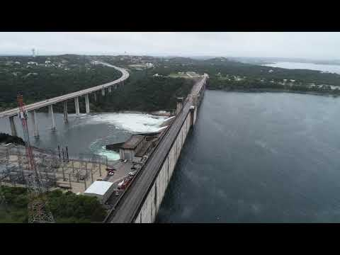 An incredible view of an open Mansfield Dam