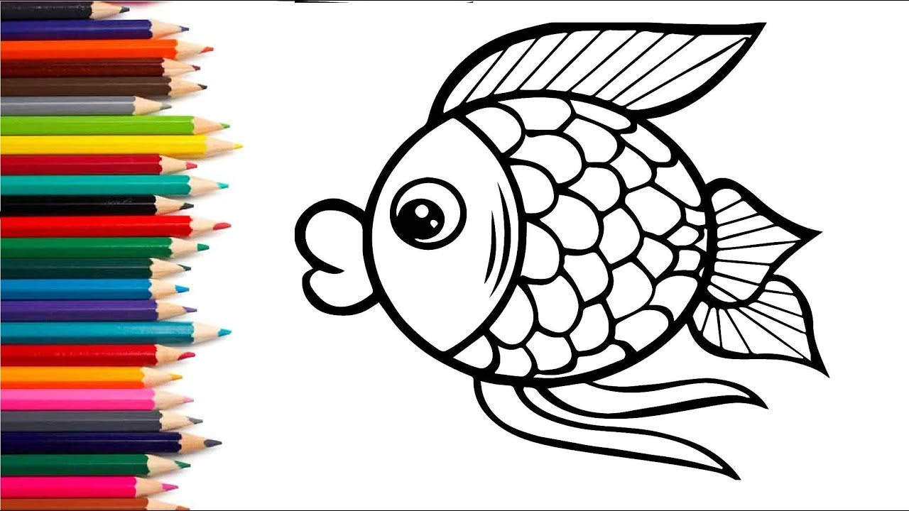 Раскраски для детей. Рисуем рыбку. Учим цвета. Видео для ...
