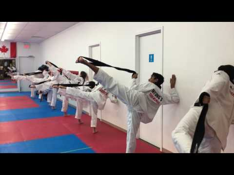 TAEKWONDO BLACK BELT CLASS TRAINING TO IMPROVE TKD SIDEKICK