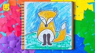 Как нарисовать лисичку - урок рисования для детей от 4 лет, рисуем дома поэтапно, пастель