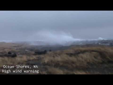 INTENSE WIND, wave action slamming Ocean Shores, WA!
