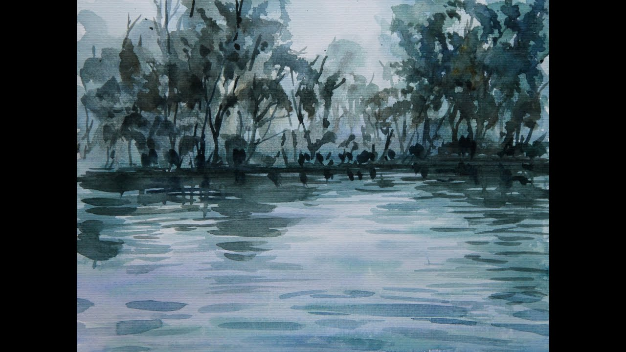 Tutorial watercolor art painting forest and water