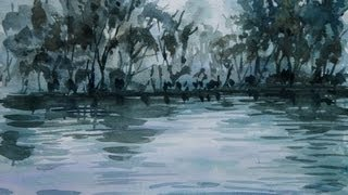 Tutorial watercolor art painting forest and water atmosphere - 20 x speed painting
