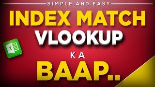 Index Match Function in Excel in Hindi Simple and Easy- Better then Vlookup