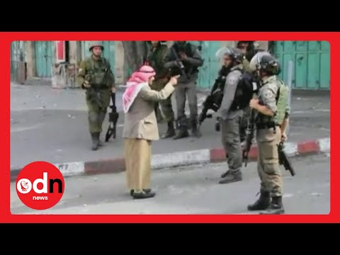 Elderly Palestinian man confronts armed Israeli soldiers before collapsing thumbnail