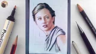 Amy Acker miniature portrait timelapse WIP animation