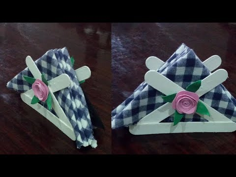 Popsicle Sticks Tissue Holder/ How to make a simple tissue holder/easy paper craft//