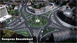 Realistic European Roundabout fully detailed - Cities Skylines: Custom Builds