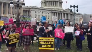 DNC Chair Tom Perez condemns Trumpcare at a Capitol Hill rally
