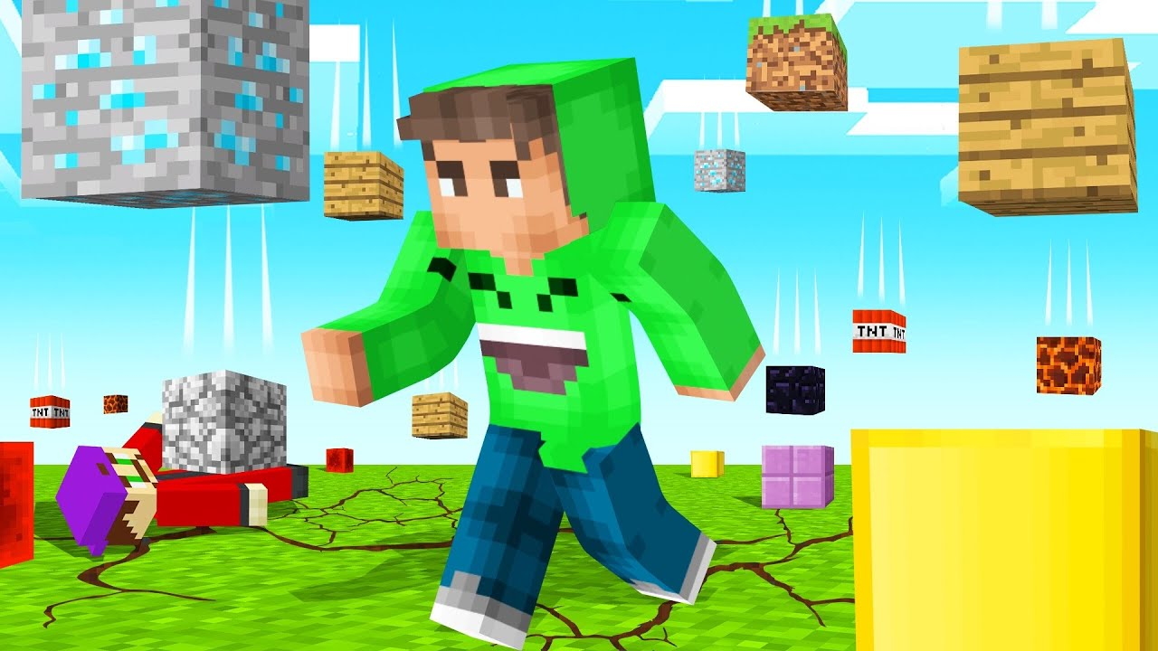 GET HIT By A Block = LOSE! (Minecraft Falling Blocks)