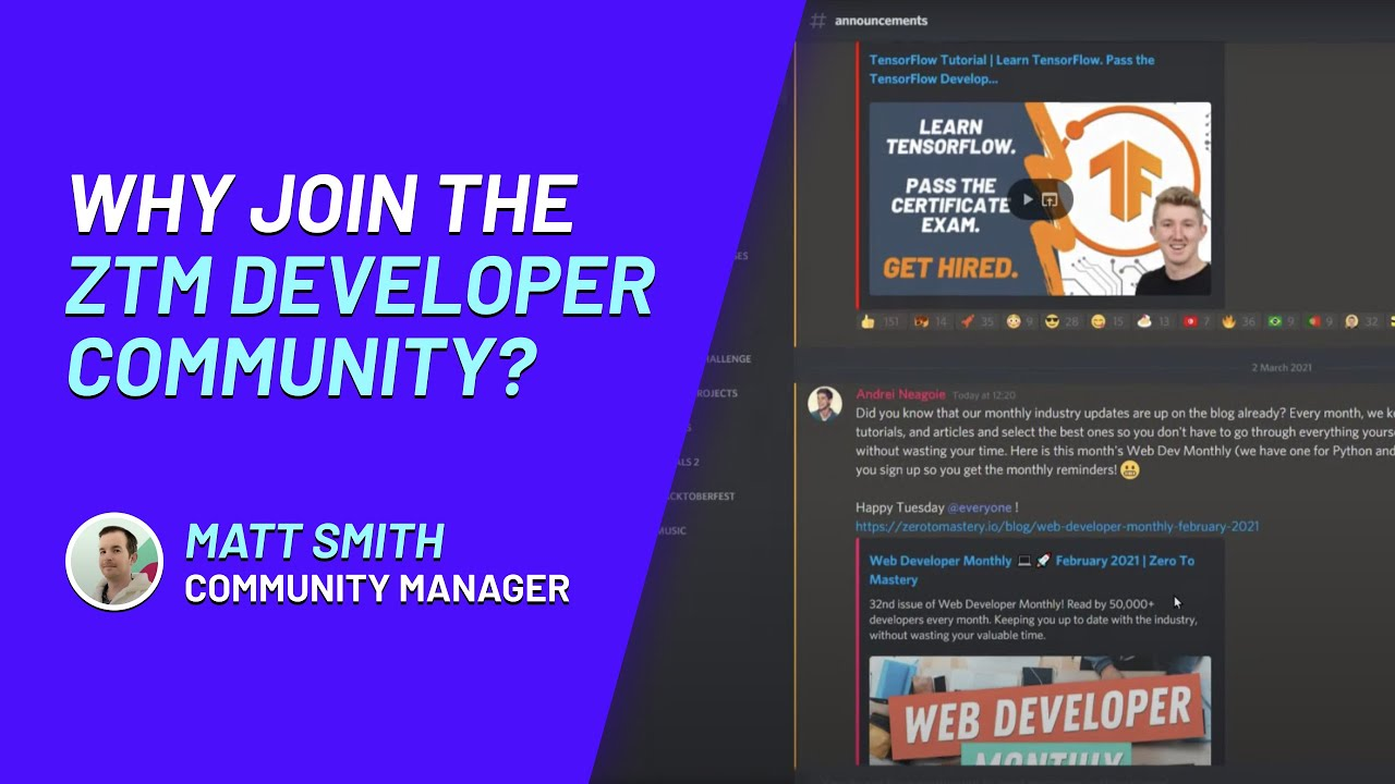 ZTM Developer Community: Behind The Scenes Look | Learn to Code. Get Hired.